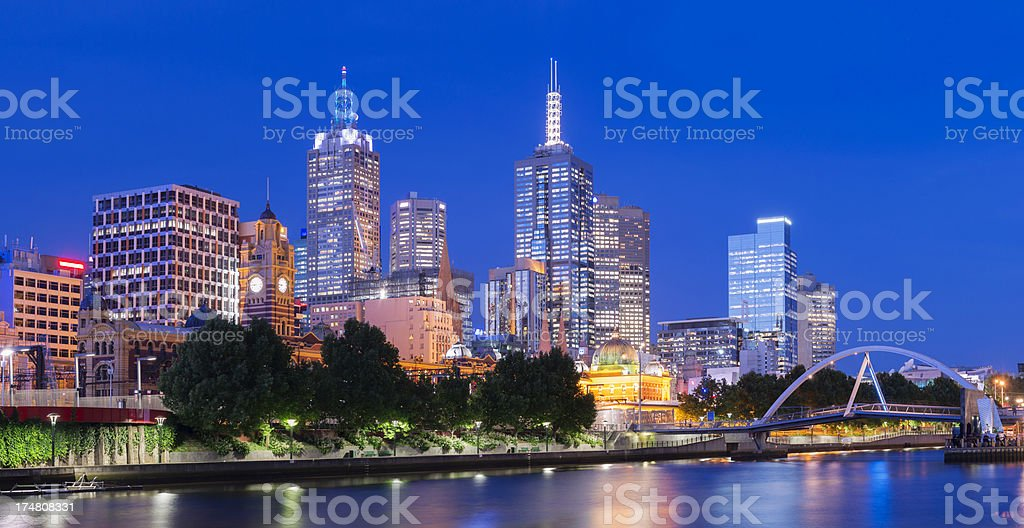 Melbourne City Skyline and Yarra River at Night in Australia royalty-free stock photo