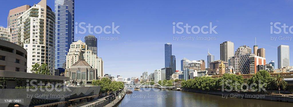 Melbourne City Skyline and Yarra River in Australia stock photo
