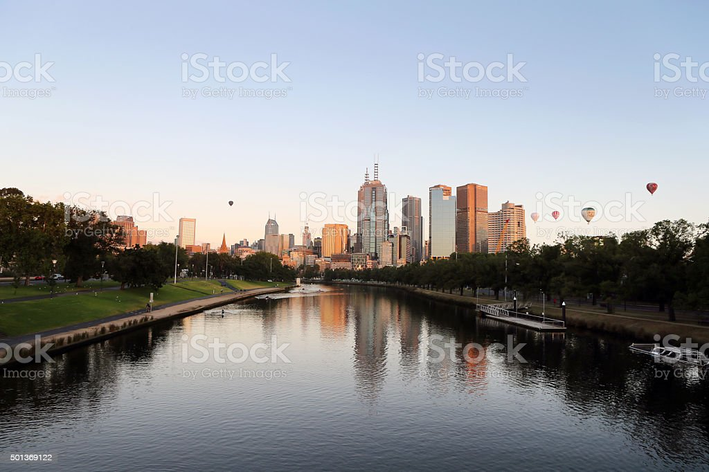 Melbourne City skyline at dawn stock photo