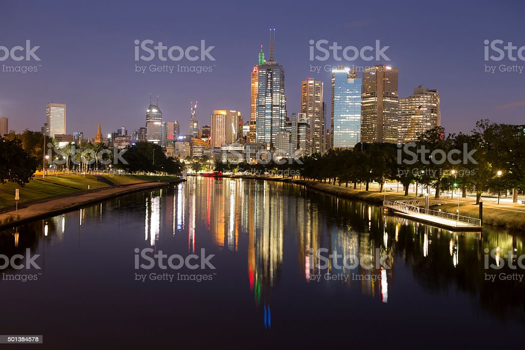 Melbourne City skyline at dawn royalty-free stock photo