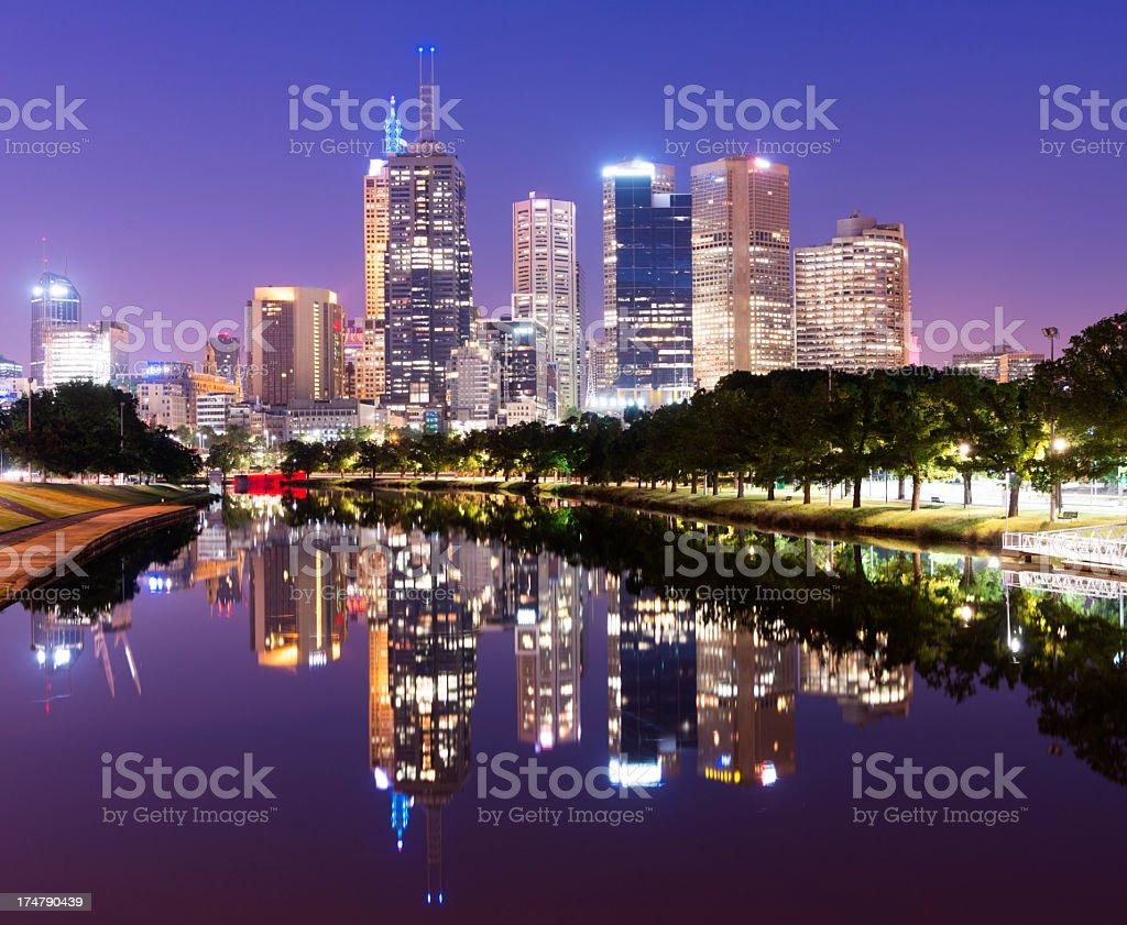 Melbourne City Skyline at Night in Australia royalty-free stock photo