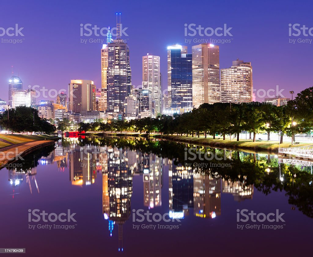 Melbourne City Skyline at Night in Australia stock photo
