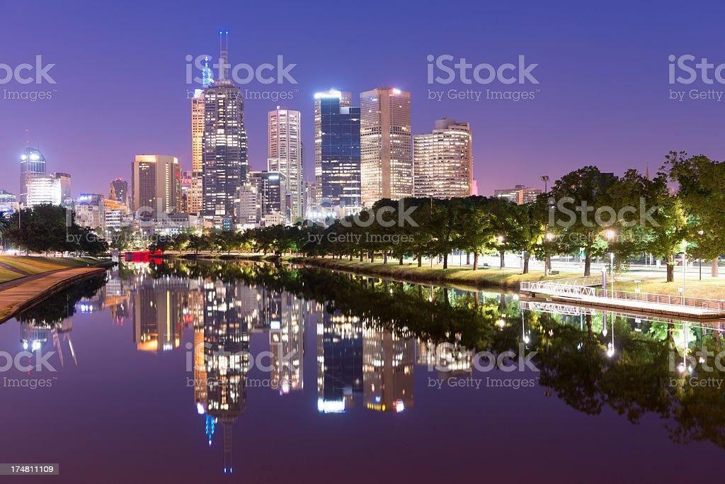 Melbourne City Skyline at Night in Australia stock photo