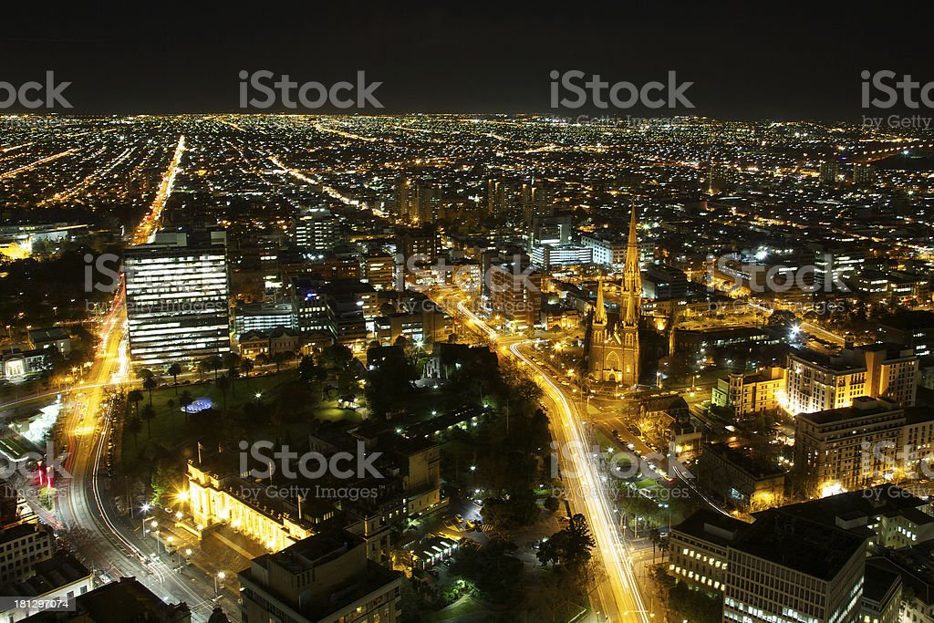 Melbourne city skyline at night royalty-free stock photo