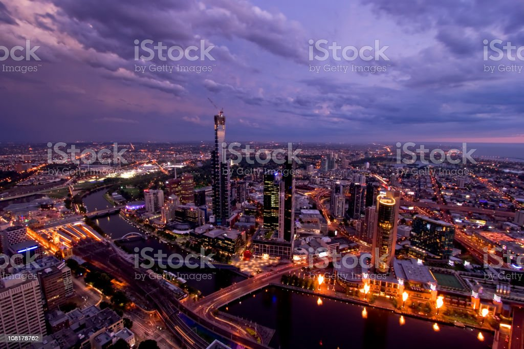 Melbourne City Skyline at Sunset stock photo