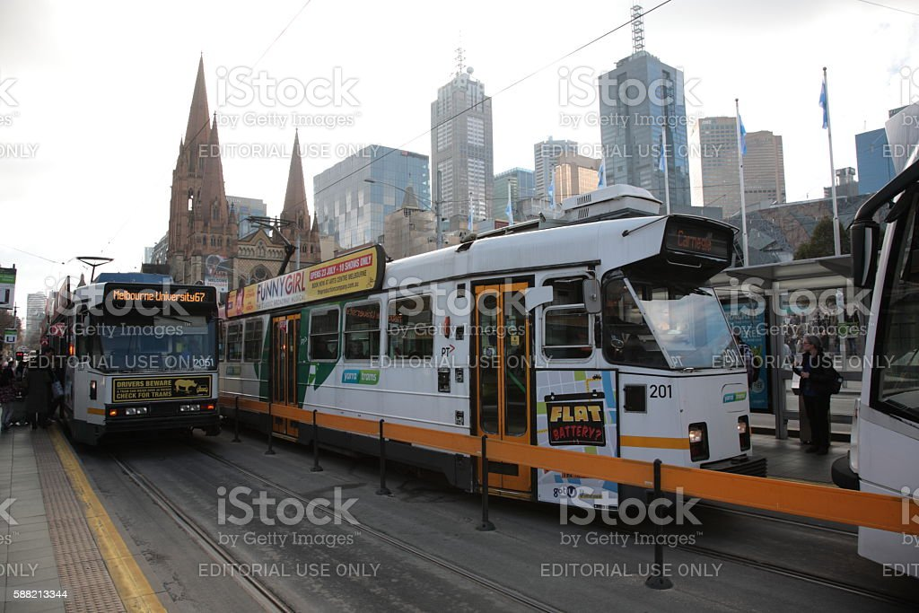 Melbourne city view in Winter, Australia. stock photo