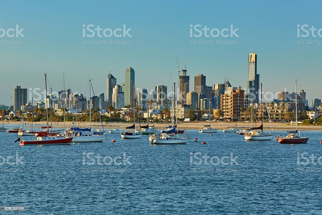 Melbourne city view stock photo