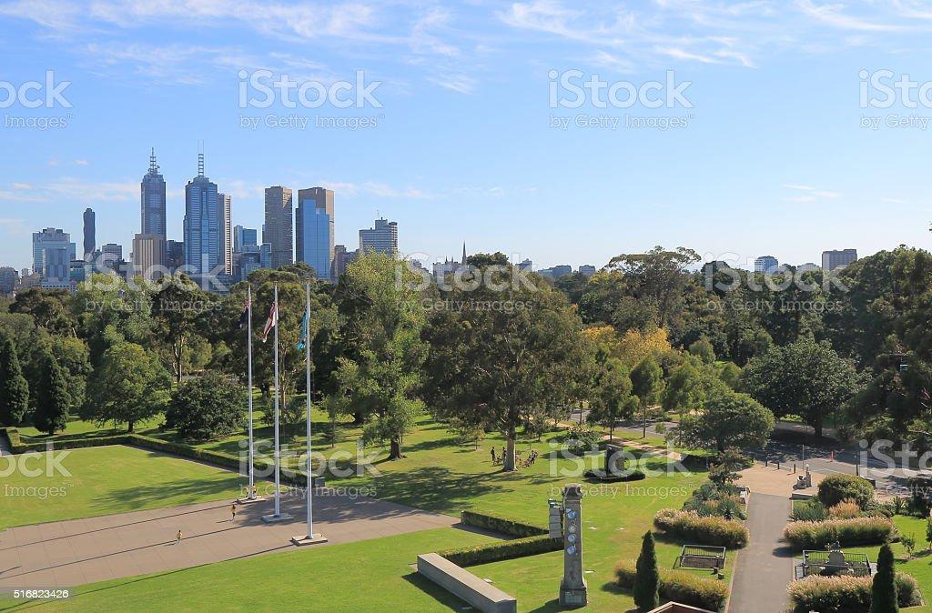 Melbourne Cityscape Botanic Gardens Australia stock photo