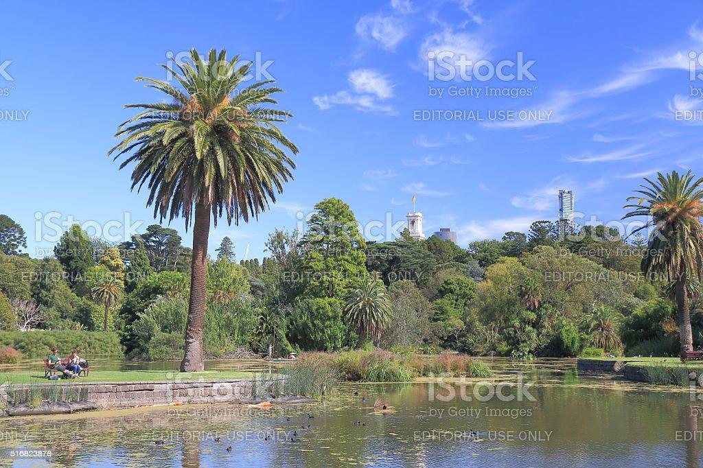 Melbourne Cityscape Botanic Gardens park Australia stock photo