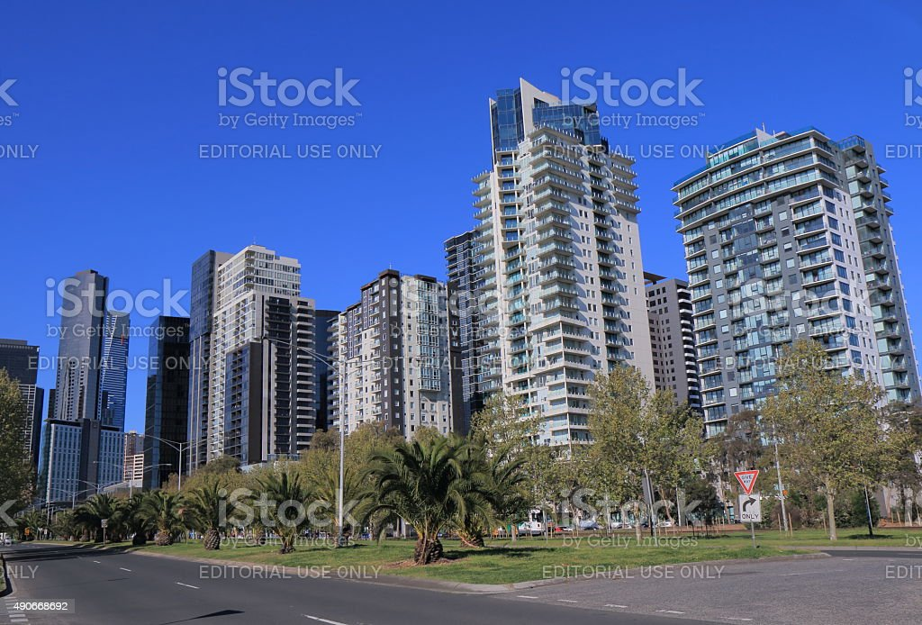Melbourne cityscape residential apartment stock photo