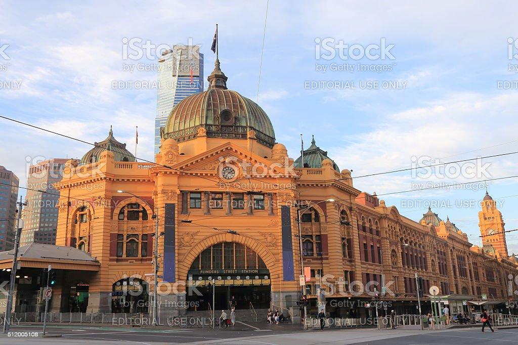 Melbourne Flinders Street Train Station Australia stock photo