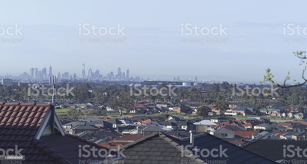Melbourne from suburbs royalty-free stock photo