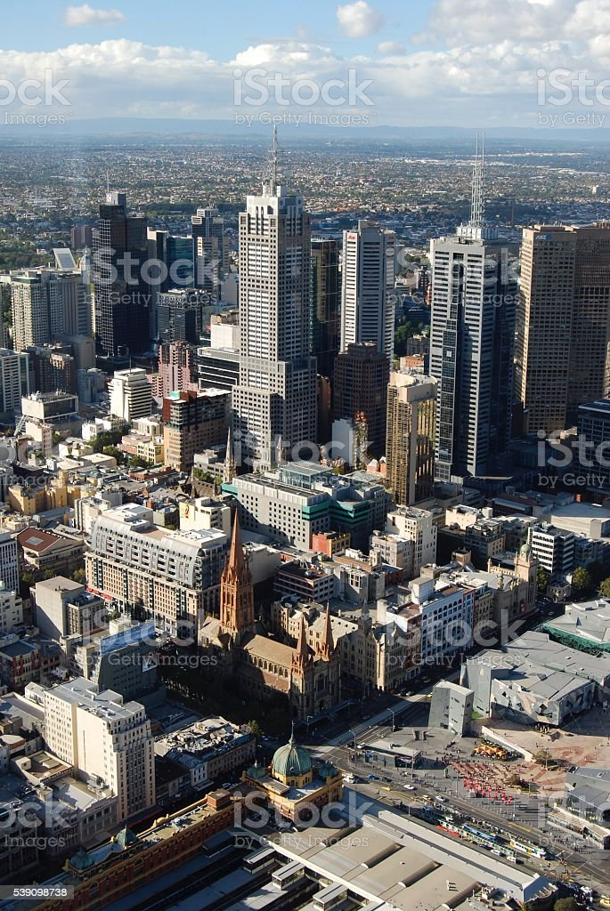 Melbourne- looking down over Federation Square and St Pauls Cathedral stock photo