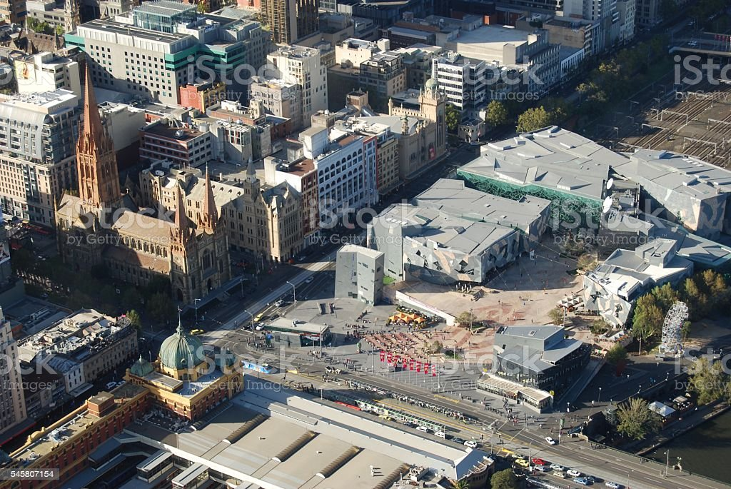 Melbourne -looking down over St Pauls Cathedral and Federation Square stock photo