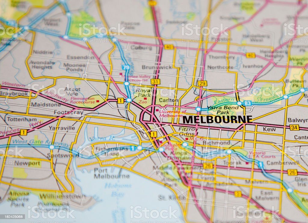 melbourne map royalty-free stock photo