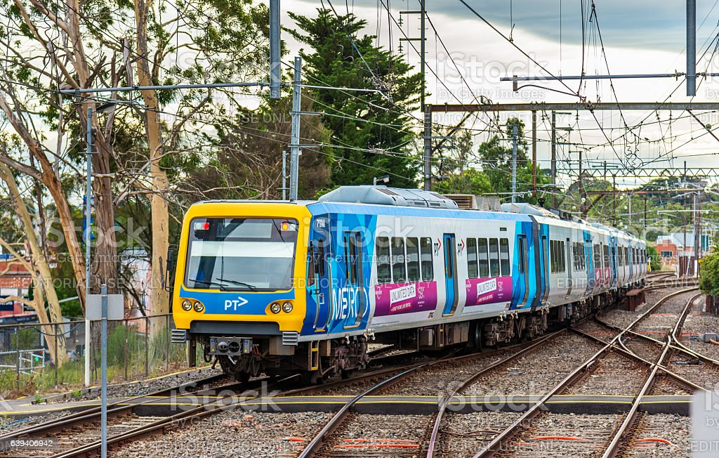 Melbourne Metro Train at Ringwood Station, Australia stock photo