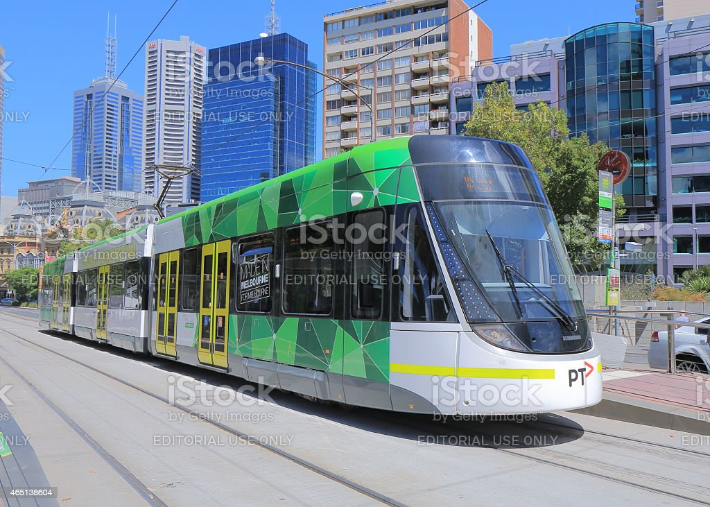 Melbourne modern tram stock photo