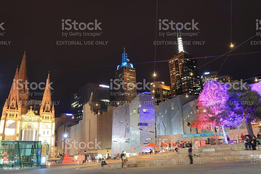 Melbourne night cityscape Australia stock photo