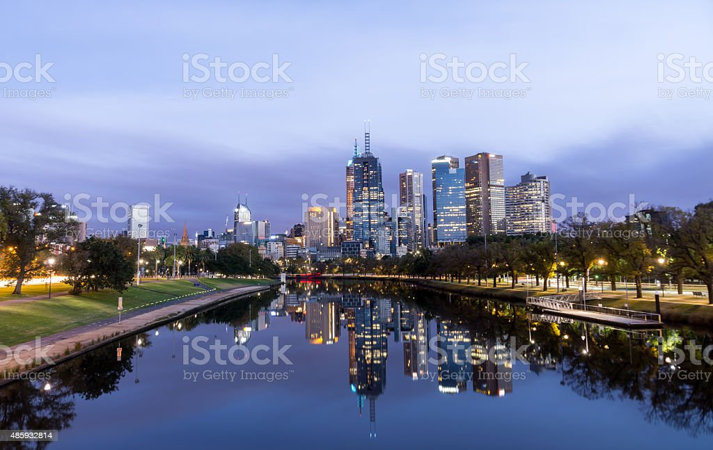 Melbourne Night Cityscape from Yarra River stock photo