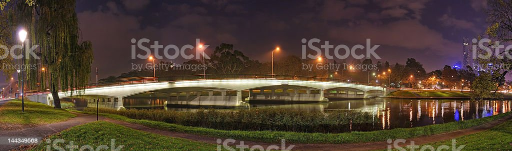 Melbourne night panorama II stock photo