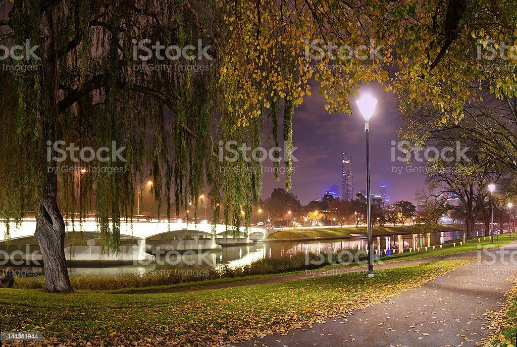 Melbourne night panorama III stock photo