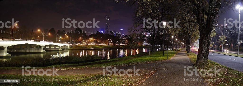 Melbourne night panorama stock photo