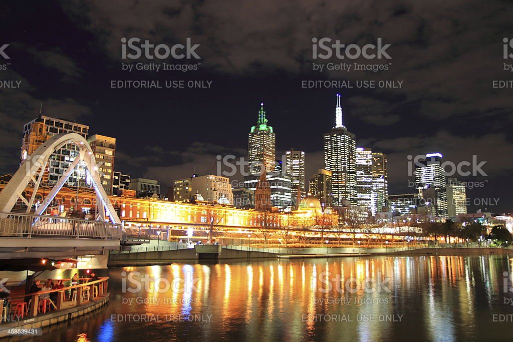 Melbourne night royalty-free stock photo