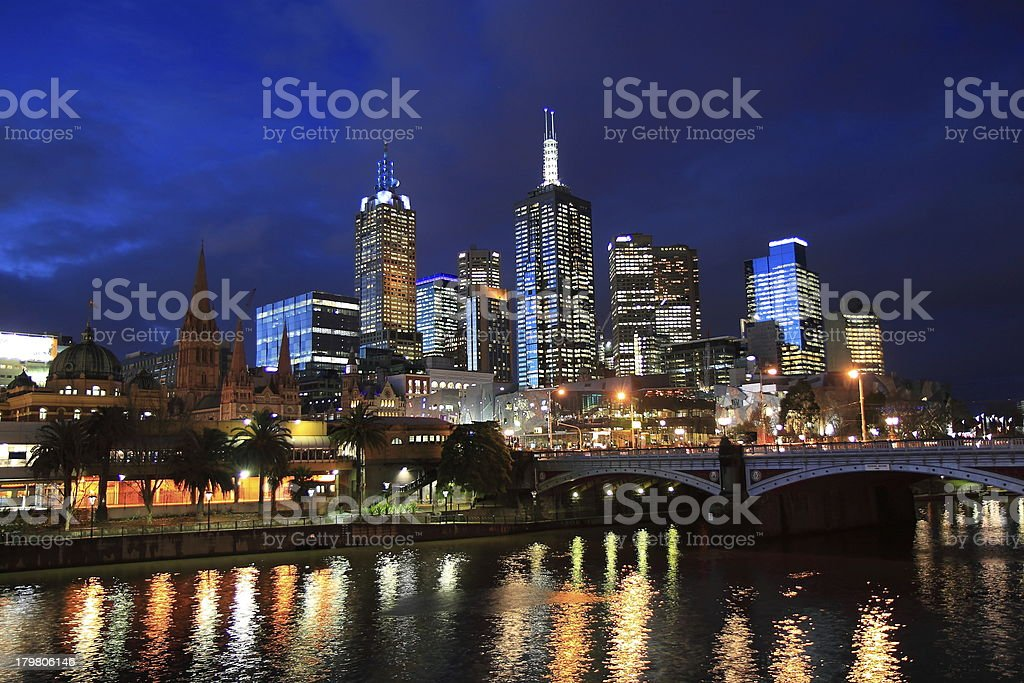 Melbourne night Skyline royalty-free stock photo