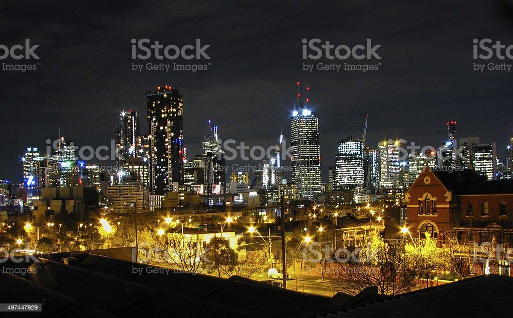 Melbourne night view stock photo