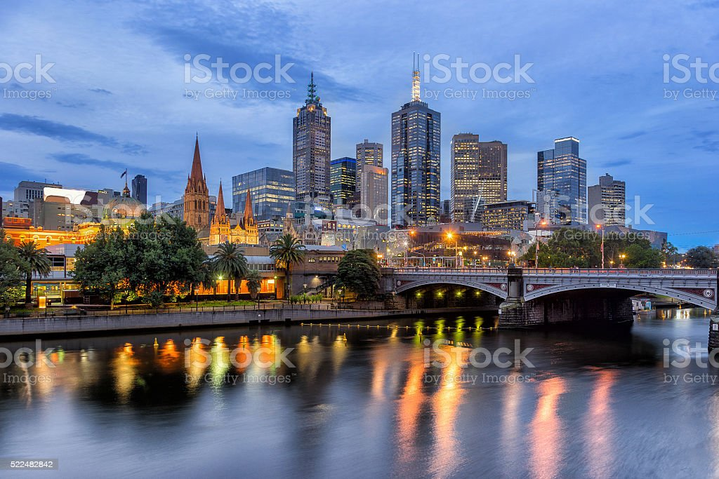 Melbourne on the Yarra River at night stock photo