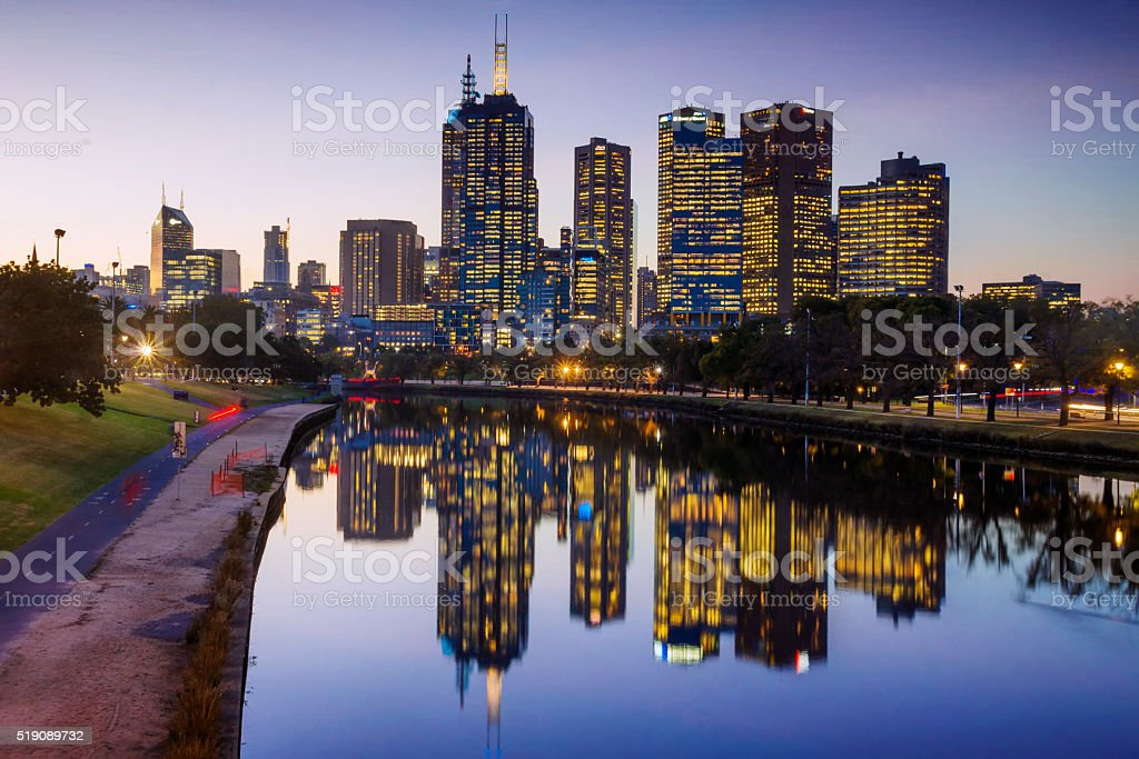 Melbourne, reflected in the Yarra River stock photo