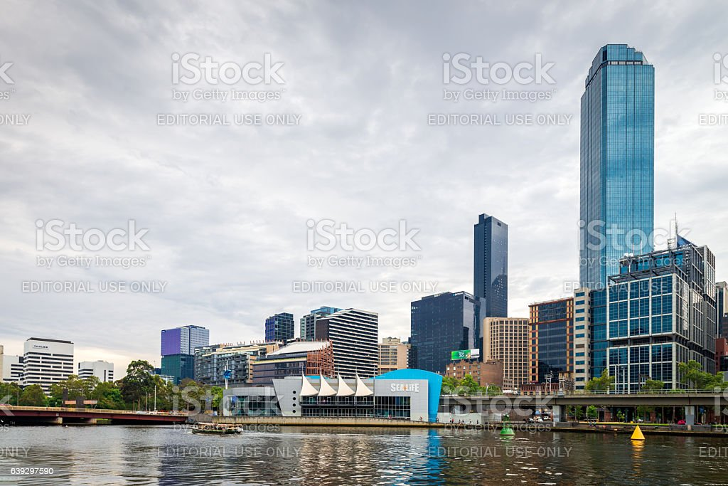 Melbourne Sea Life Aquarium and Yarra River stock photo