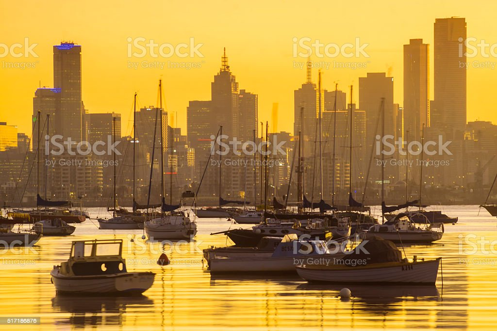 Melbourne silhouetted at sunrise stock photo