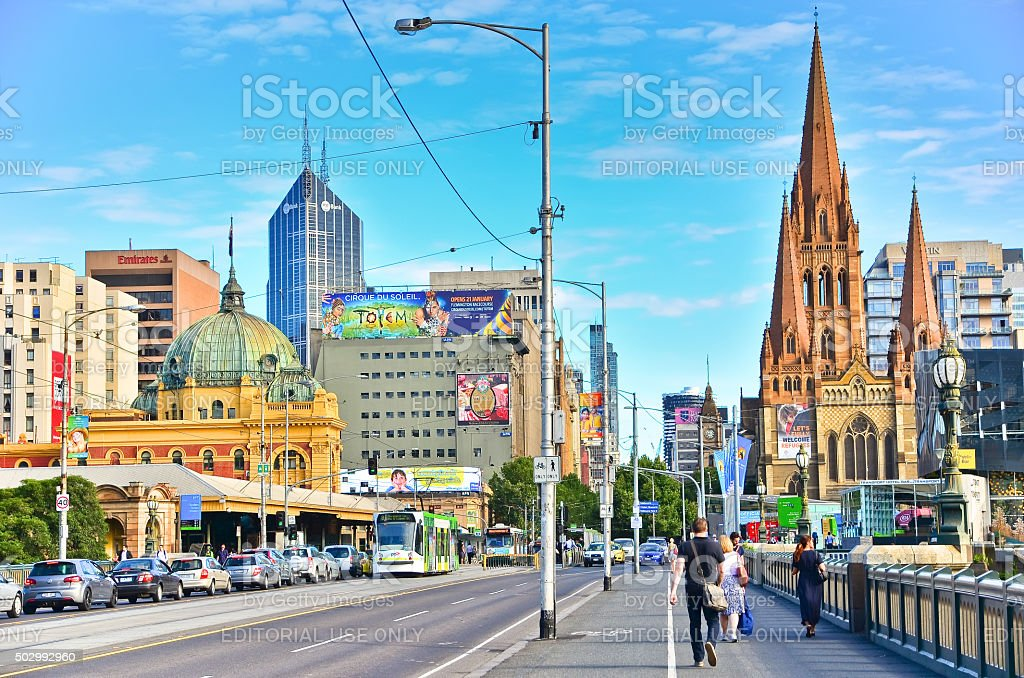 Melbourne skyline along Yarra River in summer in Melbourne stock photo