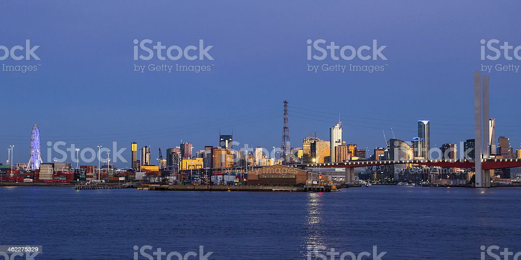 Melbourne Skyline at Dusk stock photo