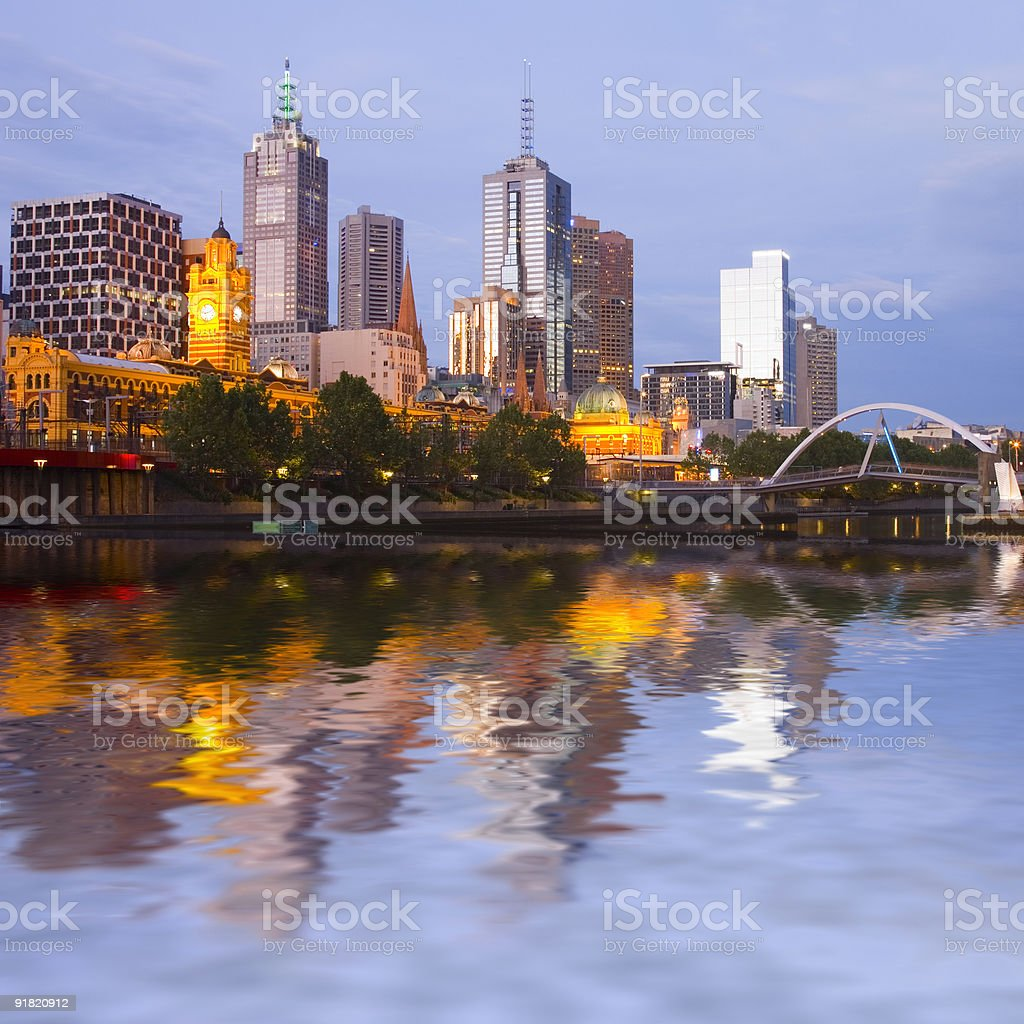 Melbourne Skyline at Twilight royalty-free stock photo