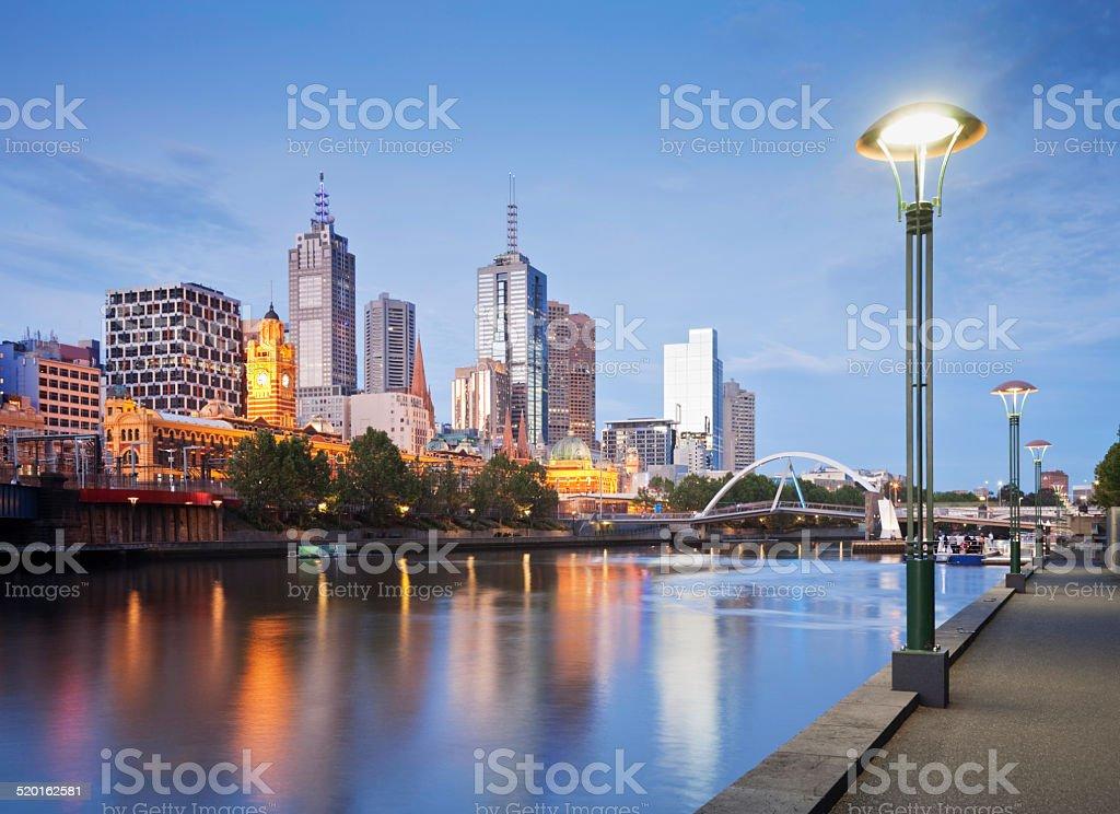 Melbourne Skyline Early Evening Illuminated stock photo