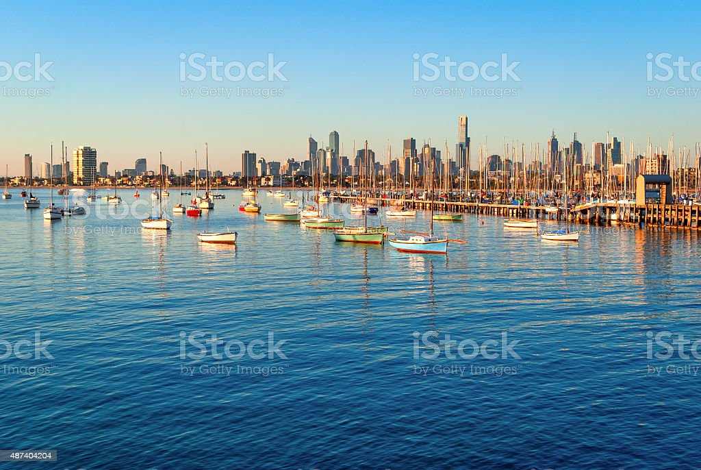 Melbourne skyline from St Kilda at sunset (Victoria, Australia) stock photo