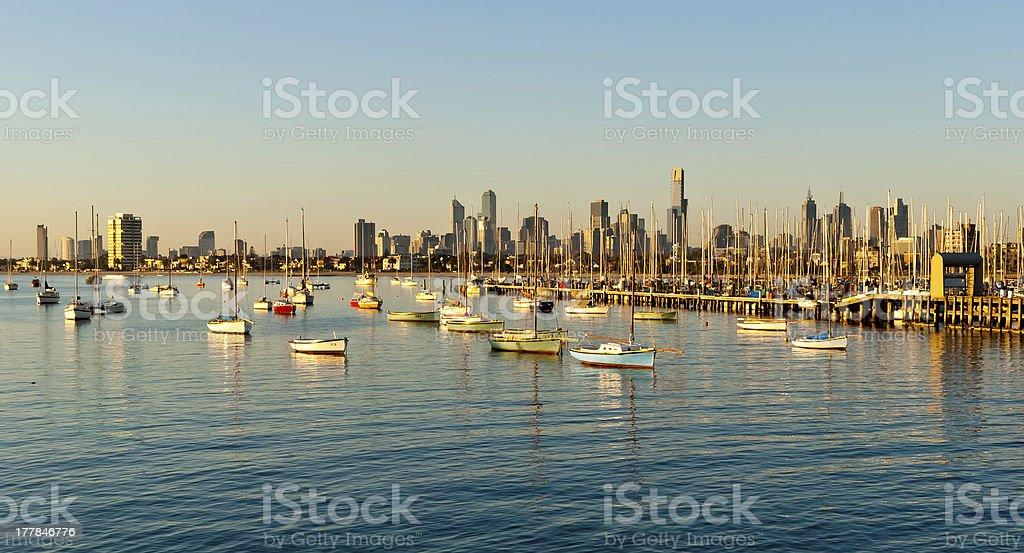 Melbourne skyline from St Kilda, Victoria, Australia royalty-free stock photo