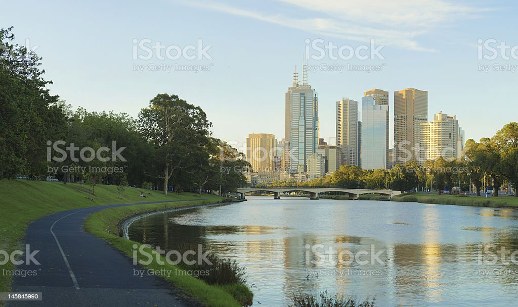 Melbourne skyline from the Yarra River stock photo