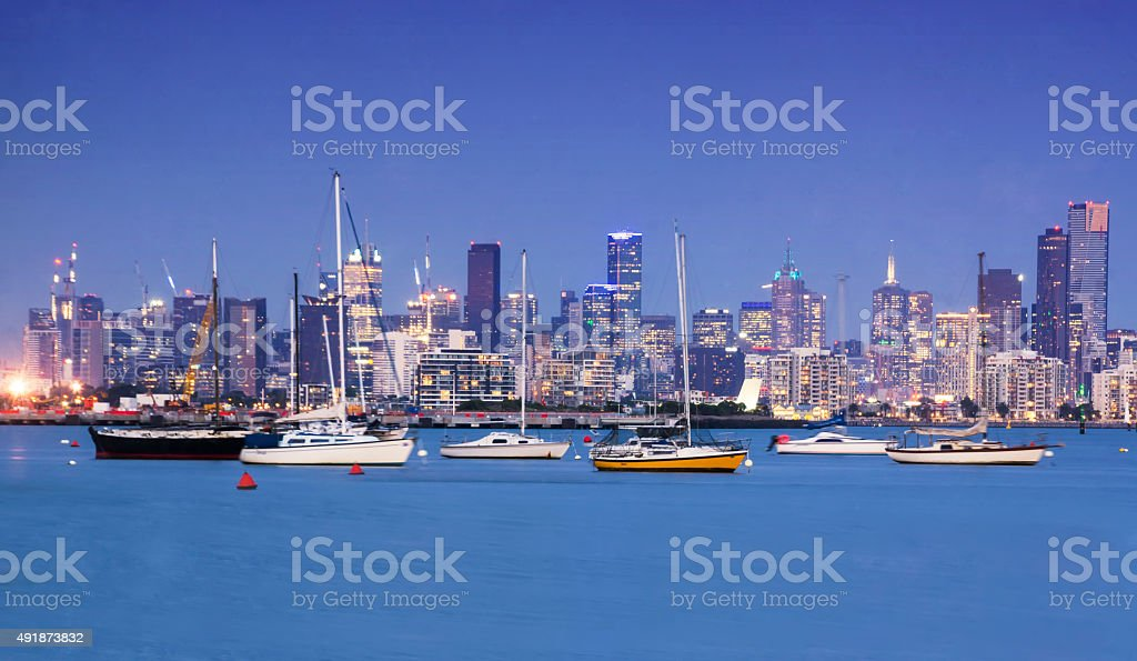 Melbourne skyline from Williamstown stock photo