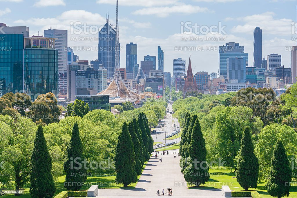 Melbourne skyline in daytime stock photo