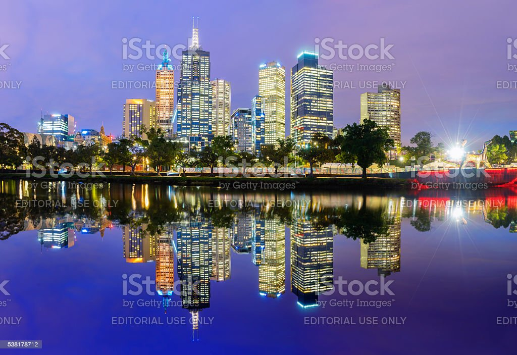 Melbourne skyline panorama at sunset stock photo