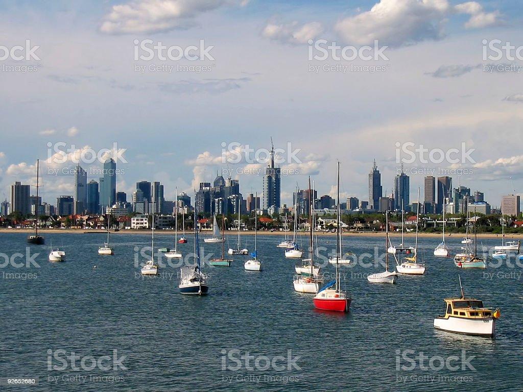 Melbourne Skyline Seen From St. Kilda Nobody royalty-free stock photo