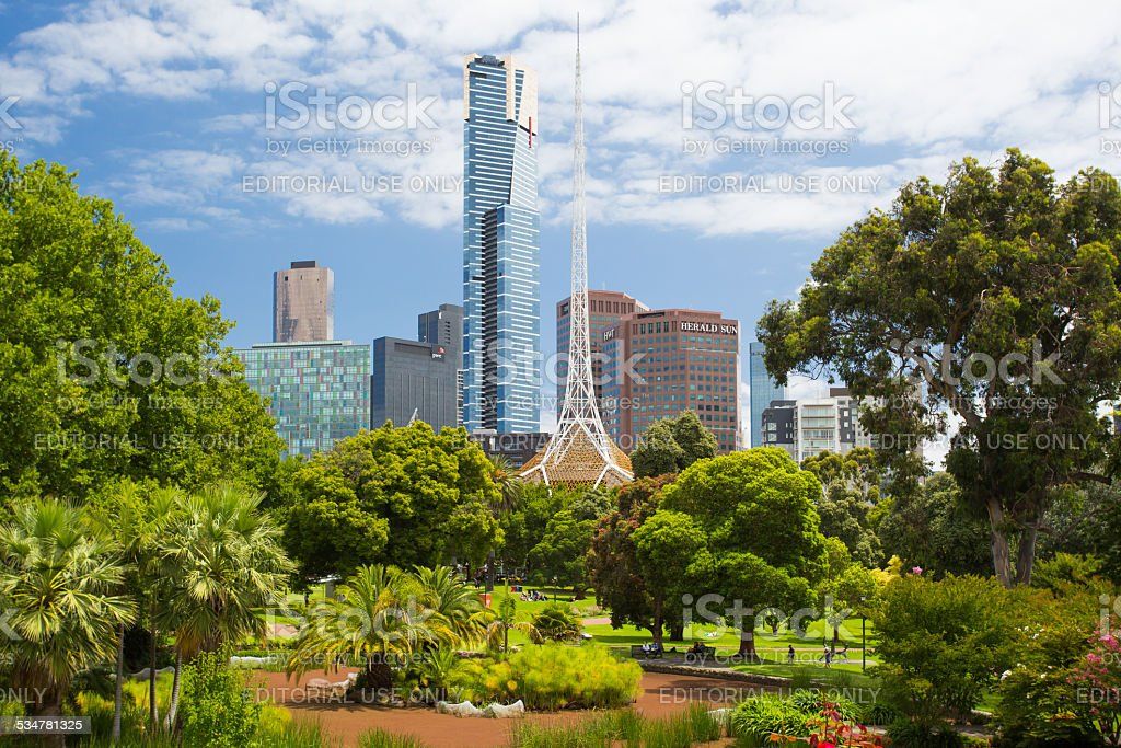 Melbourne Skyline Thru Queen Victoria Gardens stock photo