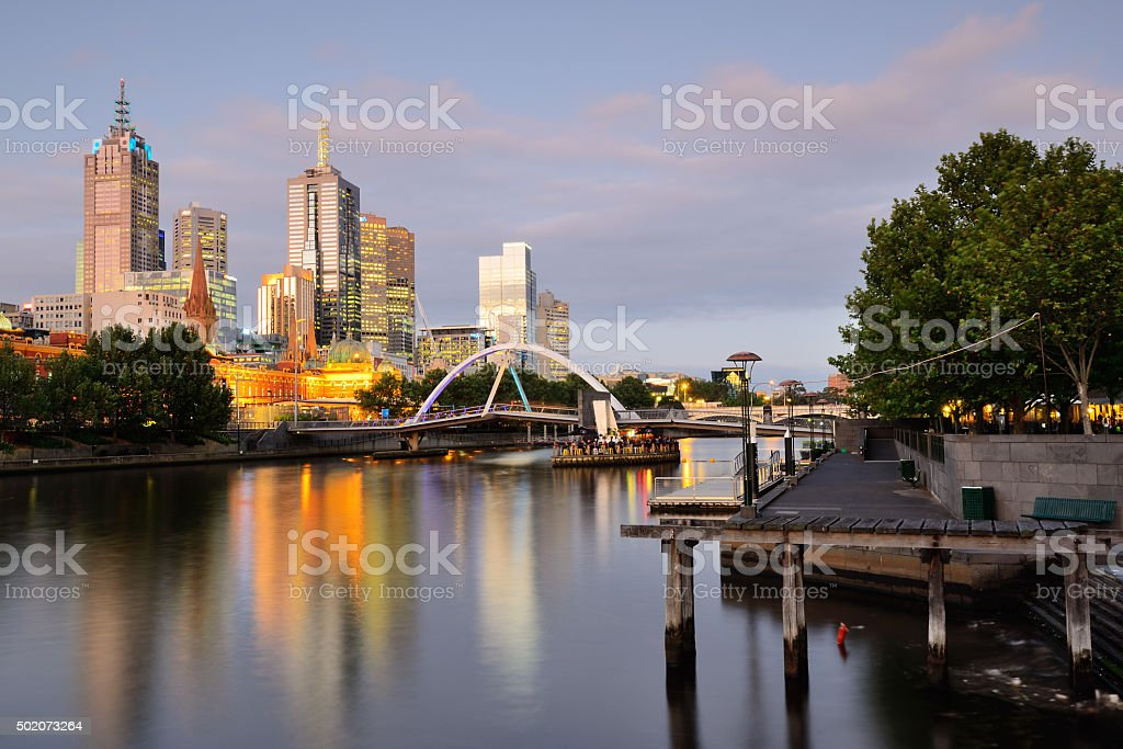 Melbourne skyline viewed from southbank at sunset stock photo