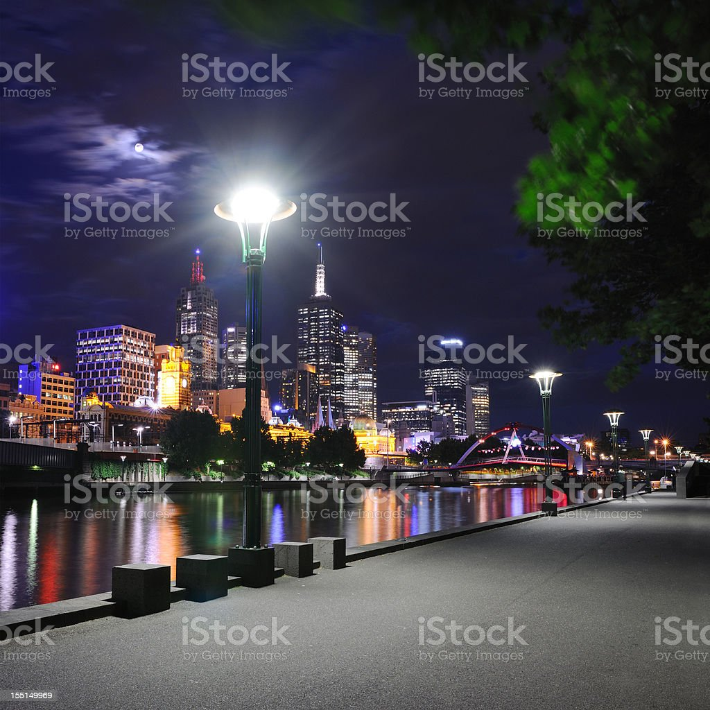 Melbourne Skyline with Yarra River at Full Moon (XXL) royalty-free stock photo