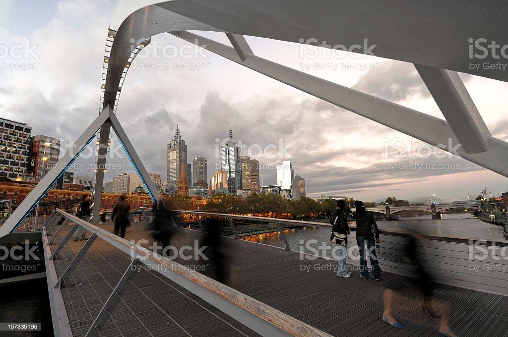 Melbourne Sougthgate Footbridge at Sunset stock photo