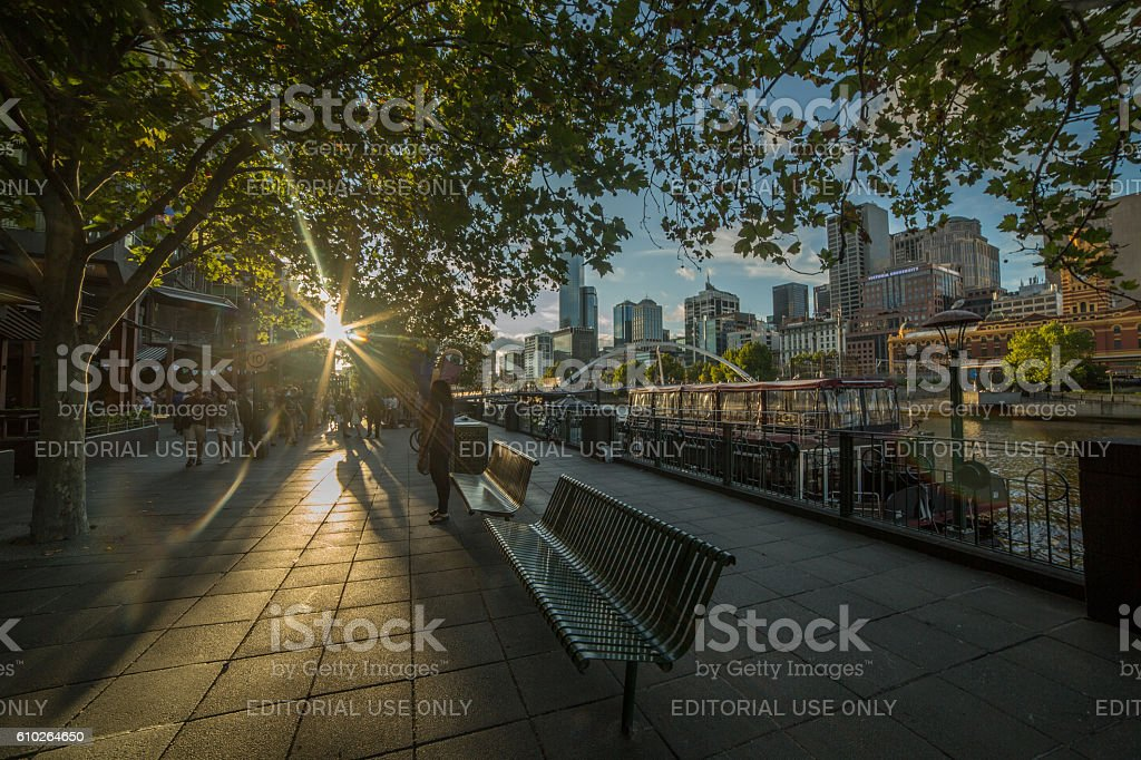 Melbourne Southbank at dusk stock photo