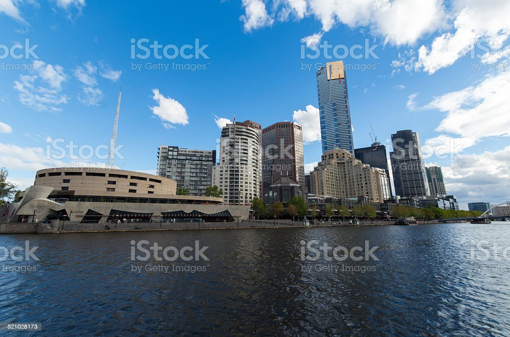 Melbourne Southbank by the Yarra River stock photo
